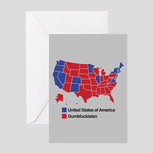 Map of Dumbfuckistan Greeting Cards