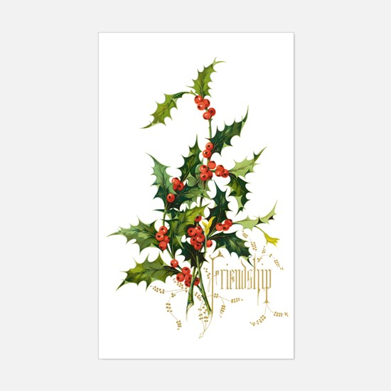 Cute Holly leaves Sticker (Rectangle)