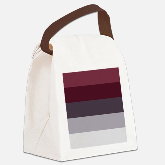 Plum Burgundy Grey Stripes Canvas Lunch Bag