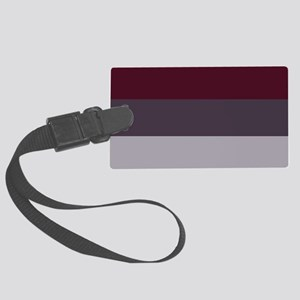 Plum Burgundy Grey Stripes Large Luggage Tag