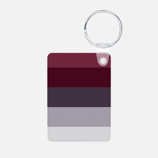Plum Burgundy Grey Stripes Keychains