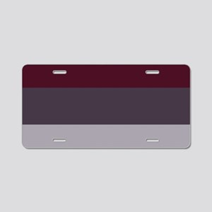 Plum Burgundy Grey Stripes Aluminum License Plate