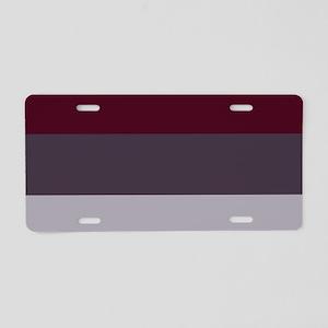 Plum Burgundy Grey Stripes Aluminum License Plate