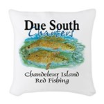 Red Fishing Woven Throw Pillow
