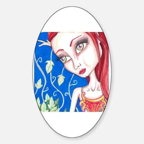 Funny Big eye girl Sticker (Oval)