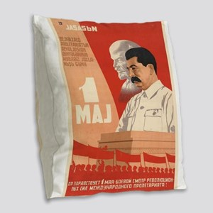 Vintage poster - Josef Stalin Burlap Throw Pillow
