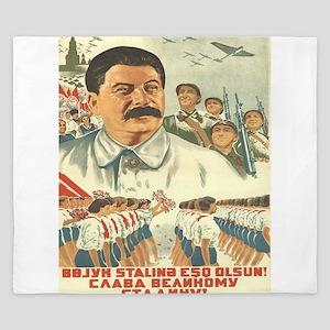 Vintage poster - Josef Stalin King Duvet