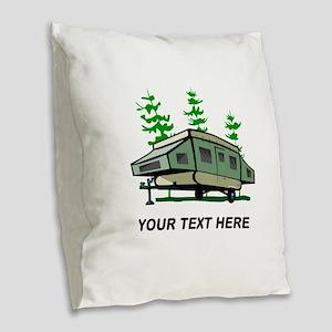Camping Popup Trailer Home Burlap Throw Pillow