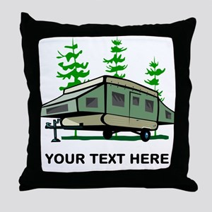 Camping Popup Trailer Home Throw Pillow