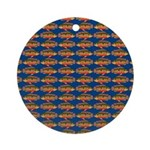 African Jewelfish Pattern on Blue Round Ornament