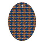 African Jewelfish Pattern on Blue Oval Ornament