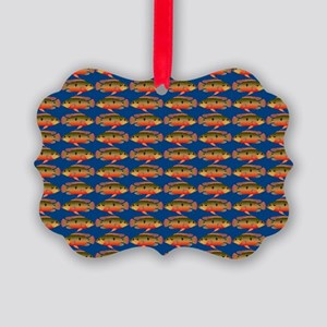 African Jewelfish Pattern on Blue Ornament