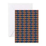 African Jewelfish Pattern on Blue Greeting Cards