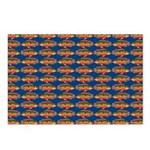 African Jewelfish Pattern on Blue Postcards (Packa