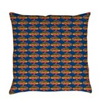 African Jewelfish Pattern on Blue Everyday Pillow