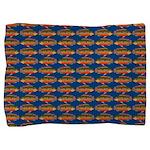 African Jewelfish Pattern on Blue Pillow Sham