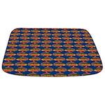 African Jewelfish Pattern on Blue Bathmat