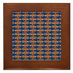 African Jewelfish Pattern on Blue Framed Tile