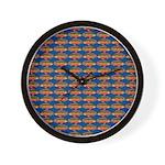 African Jewelfish Pattern on Blue Wall Clock