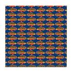 African Jewelfish Pattern on Blue Tile Coaster