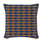 African Jewelfish Pattern on Blue Woven Throw Pill