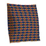 African Jewelfish Pattern on Blue Burlap Throw Pil