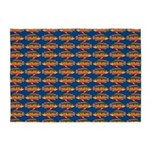 African Jewelfish Pattern on Blue 5'x7'Area Rug