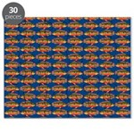 African Jewelfish Pattern on Blue Puzzle