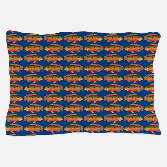African Jewelfish Pattern on Blue Pillow Case