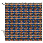 African Jewelfish Pattern on Blue Shower Curtain