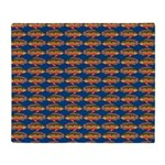 African Jewelfish Pattern on Blue Throw Blanket