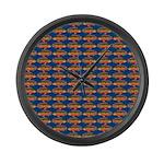 African Jewelfish Pattern on Blue Large Wall Clock