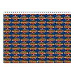 African Jewelfish Pattern On Blue Wall Calendar