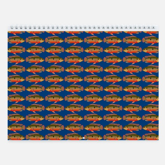 African Jewelfish Pattern On Blue Wall Calendar