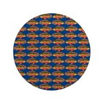 African Jewelfish Pattern on Blue Button