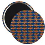 African Jewelfish Pattern on Blue Magnets