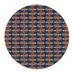 African Jewelfish Pattern on Blue Round Car Magnet