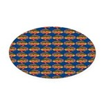 African Jewelfish Pattern on Blue Oval Car Magnet