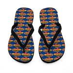 African Jewelfish Pattern on Blue Flip Flops
