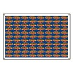 African Jewelfish Pattern on Blue Banner