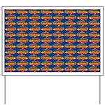 African Jewelfish Pattern on Blue Yard Sign