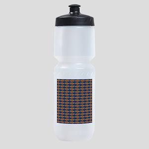 African Jewelfish Pattern on Blue Sports Bottle