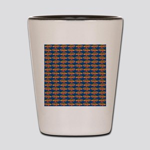 African Jewelfish Pattern on Blue Shot Glass