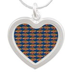 African Jewelfish Pattern on Blue Necklaces
