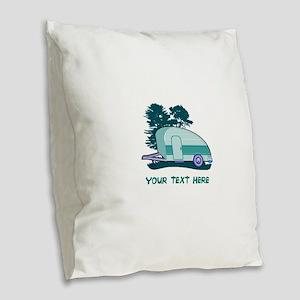 Personalize Teardrop Trailer H Burlap Throw Pillow