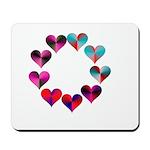 Circle of Iridescent Hearts Mousepad