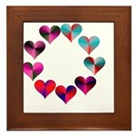 Circle of Iridescent Hearts Framed Tile