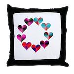 Circle of Iridescent Hearts Throw Pillow