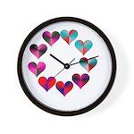 Circle of Iridescent Hearts Wall Clock