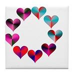 Circle of Iridescent Hearts Tile Coaster
